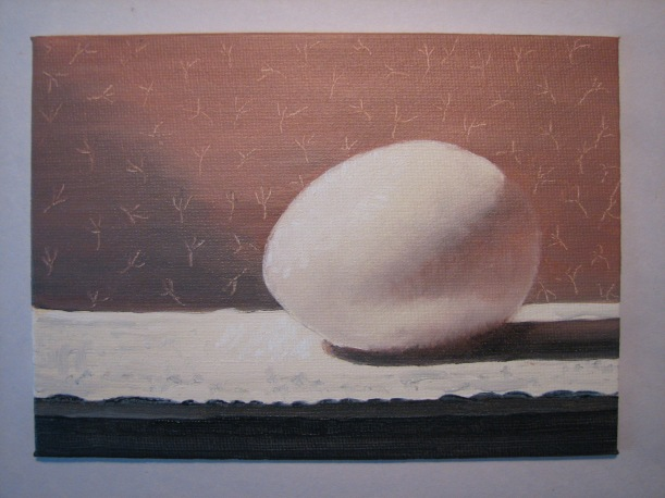 The Migty Egg  - oil on canvas board 5x7